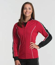 The Charles River Apparel 5673 Women's Rev Jacket is a great option for active women. Use it as a warmup jacket for sports teams, for exercise, or just for comfort.