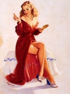 """This doesn't seem to keep the chap from my lips"" by Gil Elvgren  1948"