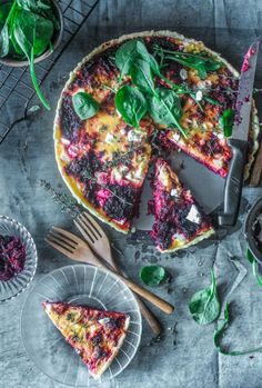 Beetroot And Feta Tart- A delicious and easy, colourful tart made like a quiche with beetroot and feta cheese.