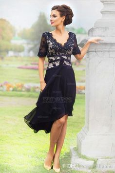 New Arrival Navy Blue 2016 Elegant Country Mother of the Bride Dresses with Half Sleeves V Neck Lace Evening Dresses Tea Length Formal Wear