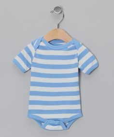 Take a look at this White & Blue Stripe Organic Bodysuit - Infant on zulily today!