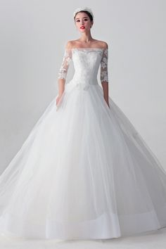 lace 3/4 length sleeve wedding dresses - Google Search