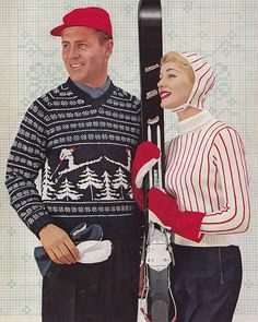 From a 1956 book of ski fashions whyaintyou.com
