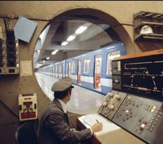 The Vault Of The Atomic Space Age — spockvarietyhour: Terminus Angrignon 1980 Station To Station, Metro Station, Train Station, What's My Line, Sun Shadow, G Photos, Montreal Canada, Space Age, Vaulting