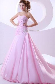 Elegant Pink A Line Strapless Ruffles Taffeta Chapel Train Wedding Dress