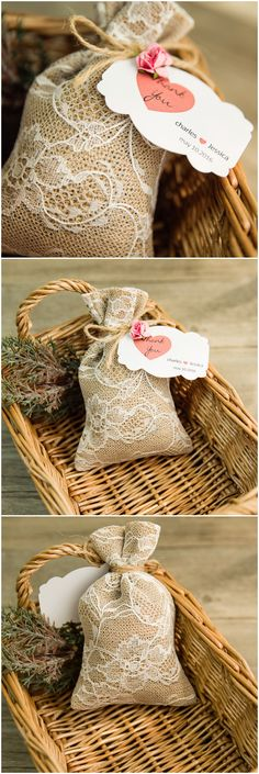 chic rustic lace and burlap wedding favor ideas with a touch of pink blush
