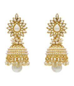 Hyderabad Jewels Copper Gold Plated Pearl White and Golden Earrings: Buy Hyderabad Jewels Copper Gold Plated Pearl White and Golden Earrings Online in India on Snapdeal