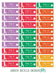 Get abs of steel with this 30-day squat challenge set of stickers! The intensity increases as the month continues! They're designed to fit in the weekly boxes of the vertical Erin Condren planner, but