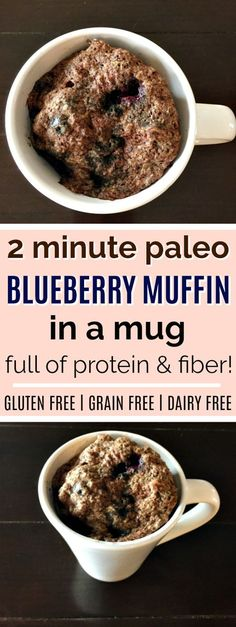 This paleo blueberry muffin in a mug recipe looks AMAZING! It will be a perfect quick breakfast or snack, and I love that it's full of protein and fiber! It is gluten-free, grain-free, dairy-free, and paleo, and it is sweetened with honey. The paleo blueberry muffin in a mug takes just two minutes to mix up and microwave! Definitely pinning! #paleo #glutenfree #grainfree #healthybreakfast