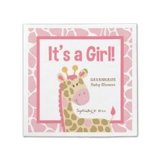 Pink Giraffe It's a Girl Custom Napkins Disposable Napkins