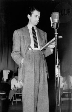 Jimmy Stewart on the radio | vintage 1940s mens style | 40s trousers, braces, stripe tie and suit coat jacket