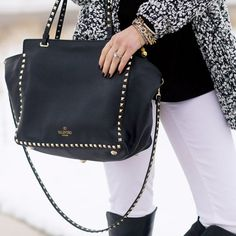 Leather Medium Rockstud Tote by Valentino