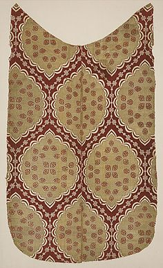 Turkey, Bursa or Istanbul  Textile with Ogival Pattern, 16th century  Textile, Silk and metallic thread supplementary weft patterning brocaded on silk ground, 53 x 30 3/4 in. (134.62 x 78.105 cm)