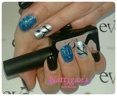 Blue, black, and glitter nails Bio Sculpture Gel, Glitter Nails, Nail Art, Blue, Beauty, Glittery Nails, Nail Arts, Beauty Illustration, Nail Art Designs
