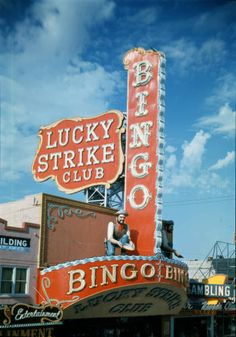 "Daytime view of the neon signs, sculptures and marquee over the entrance to the Lucky Strike Club in Las Vegas, circa 1954-1963. Part of UNLV Libraries ""Dreaming the Skyline"" digital collection."
