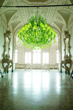 A Touch of Green. Over-sized Neon Chandelier Love.