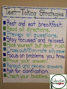 Graduate school-Education to the Core: Test-Taking Strategies Anchor Chart! Test Taking Skills, Test Taking Strategies, Test Strategy, Addition Strategies, Literacy Strategies, Math Tips, Classroom Posters, School Classroom, Classroom Ideas