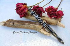 Gunmetal Ballpoint Pen,Black with White Lampwork Glass Beads,Beaded Rondelles with Crystals,Silver Spacers,Velvet Pouch, Black Ink.   SRAJD
