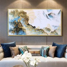 Gold lines abstract painting wall art picture for living room wall decor bedroom blue color flow gold art Original acrylic canvas home decor Flow Painting, Modern Oil Painting, Acrylic Wall Art, Canvas Wall Art, Acrylic Canvas, Art Texture, Art Mur, Photo D Art, Wall Decor Pictures