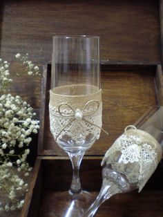 Wedding Toasting Glasses-rustic toasting glasses-burlap ang