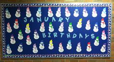 January Birthday Bulletin Board - Snowmen