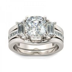 Cushion Cut White Sapphire Sterling Silver Women's Bridal Ring Set