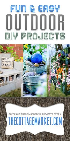 Fun and Easy Outdoor DIY Projects...planters...garden fountains...wind chimes and more!