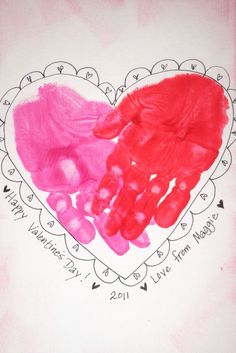 Handprint Heart ... so cute! I love making handprint crafts with my students.  I hope their families look back on them in the years to come and smile!