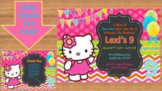 Hello Kitty Invitation, Hello Kitty Birthday, Hello Kitty Birthday Invitation, Hello Kitty Invite, Hello Kitty Party # Hello Kitty 00013 by kellylynn1973 on Etsy