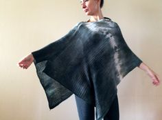 graphite knitted wool poncho, hand dyed wool scarf, artsy lambswool wrap, soft overlay, warm grey cover, ombre sweater gift for her OOAK 131 by AnnaDamzyn on Etsy