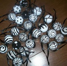 Nightmare Before Christmas Tree- hand painted in Martha Stewart multi-surface paint on glass ornaments.