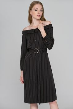 Dark Brown Pin Stripes Off the shoulder Midi Dress - (Price: $133.00)      #fashionstyle #fashionweek #fashionable #stores #style  #shopping #dressesonline #dress #womens #womenstyle #suits