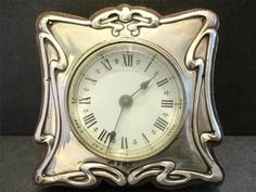 Graphics Clock Face silver | VERY RARE ANTIQUE ART NOUVEAU SOLID SILVER CLOCK BRITISH UNITED CLOCKS ...