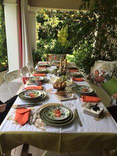 bonito estilo rústico de mesa para terraza