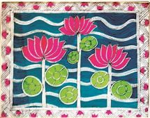 Madhubani Art Gallery has collection of different form of Folk Arts of Mithila. Sikki Work, Paintings, Prints and Cards. Madhubani Art, Madhubani Painting, Indian Traditional Paintings, Indian Folk Art, Pen Art, Tribal Art, Fabric Painting, Handicraft, Flower Art