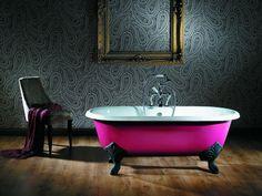 Pink cast iron roll top 1700mm bath http://www.astonmatthews.co.uk/