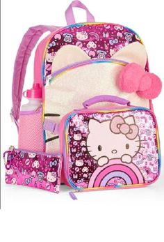 Hello Kitty Backpack For Girls Elementary School Set Lunch Bag Book Tote  Shoulde  Sanrio   d6a349b8c4b83