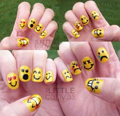 Emoji nails they are so cute they are perfect if you like emoji's like me! Crazy Nail Art, Cool Nail Art, Trendy Nails, Cute Nails, Emoticon, Hair And Nails, My Nails, Emoji Nails, Nail Art Design Gallery
