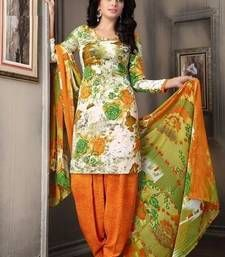 Buy multicolor printed Crepe unstitched salwar with dupatta dress-material online