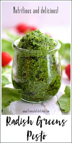 Radish Greens Pesto packs a peppery, nutritional punch! Be sure to save those radish tops for this easy to make, delicious pesto! Sauce Recipes, Gourmet Recipes, Vegan Recipes, Cooking Recipes, Free Recipes, Cookbook Recipes, Easy Recipes, Green Pesto, Radish Recipes