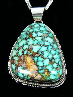 Turquoise pendant with interesting matrix - found on Pueblo Direct