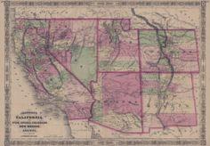 Map of California, also Utah, Nevada, Colorado, New Mexico, and Arizona, 1866 :: New Mexico Waters