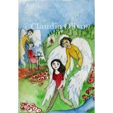 Angel de la Guarda, Dulce Compañía, watercolor on paper $20.-