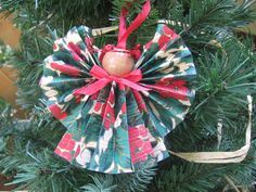 Holly Print Paper Angel Christmas Tree Ornament by SnowNoseCrafts