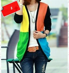 Retro Style Women's V-Neck Long Sleeve Color Block Cardigan