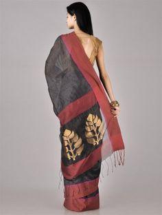 Black-Red Zari Cotton Silk Saree