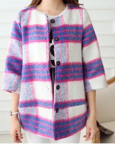 Stylish Jewel Neck Tartan 3/4 Sleeve Coat For Women