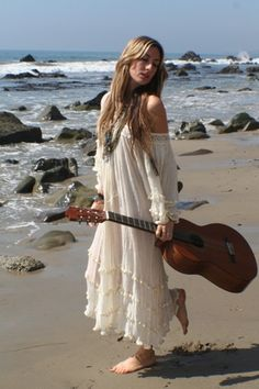 Boho beach chic long crochet gypsy embellished dress, modern hippie style. FOLLOW http://www.pinterest.com/happygolicky/the-best-boho-chic-fashion-bohemian-jewelry-gypsy-/ for the BEST Bohemian fashion trends in clothing & jewelry.