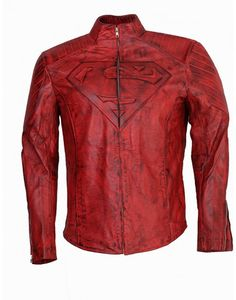 Superman Red Waxxed Leather Jacket-Celebrity leather costume