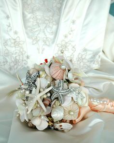 Sea Shell Wedding Bouquet -Bridal Brooch Bouquet - Wedding Accessories-Flower Alternative Bouquet. $275.00, via Etsy.